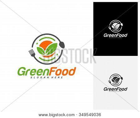 Healthy Food Logo Design Vector. Nature Food Logo Template. Restaurant, Food Court, Cafe Logo Concep