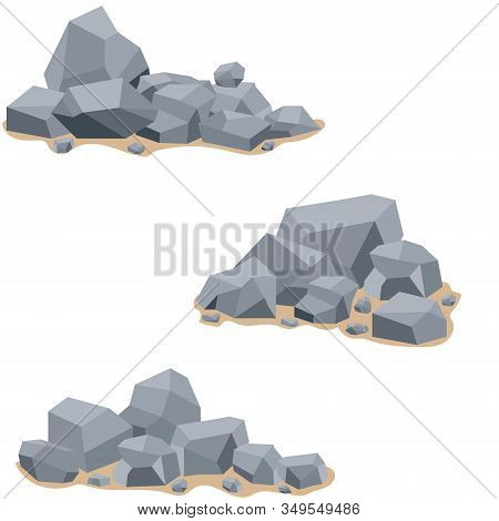 A Mountain Of Stones, Stones Stacked In The Form Of A Mountain. Vector Illustration Of Stones With A