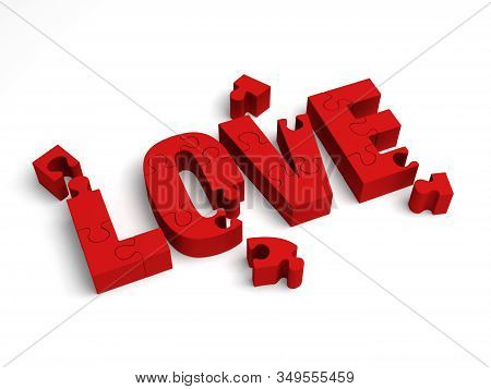 3D Illustration, Love Puzzle - Sorting Out Affection.