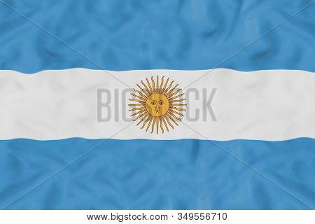 Argentina Country Independent State National Flag Banner Close-up With Waving Fabric Texture