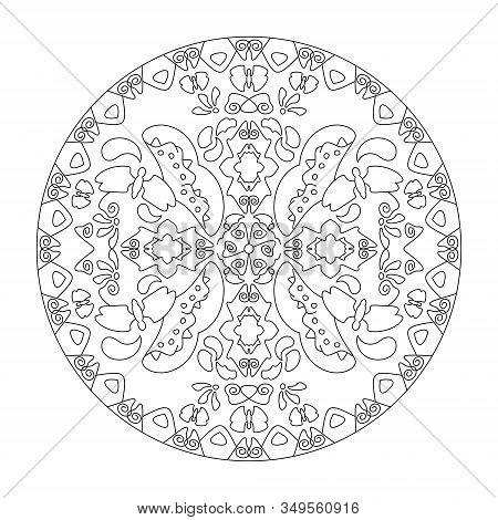 Mandala Coloring Page. Butterflies Mandala, Illustration Vector Black And White. Art Therapy. Decora