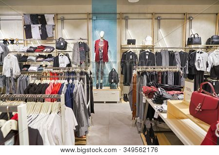 MOSCOW, RUSSIA - SEPTEMBER 14, 2019: interior shot of Stradivarius store at Salaris shopping mall in Moscow. Stradivarius is an international women clothing fashion brand from Spain.