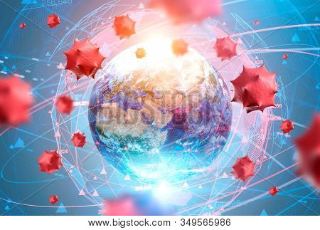 Red Virus Cells Over Earth And Its Blurry Hologram. Concept Of Coronavirus And Cure Search. Immunolo