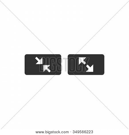 Fullscreen Sign Icon. 2 Arrows Symbol. Icon For App And Web. Minimize Or Maximize Buttons. Stock Vec