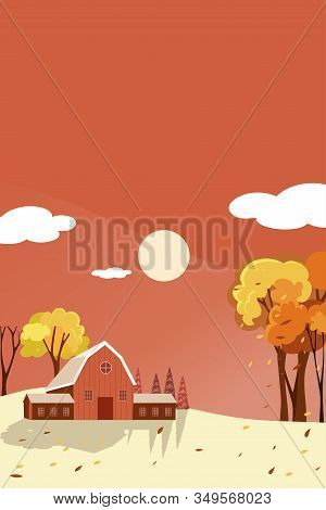 Vertical Fantasy Panorama Landscapes Of Countryside In Autumn,panoramic Of Mid Autumn With Farm Hous
