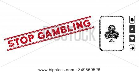 Mosaic Clubs Gambling Card Pictogram And Red Stop Gambling Stamp Between Double Parallel Lines. Flat