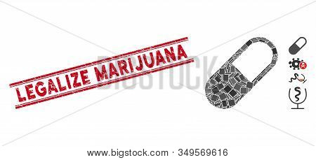 Mosaic Medication Granule Pictogram And Red Legalize Marijuana Watermark Between Double Parallel Lin
