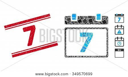 Mosaic Seventh Day Pictogram And Red 7 Stamp Between Double Parallel Lines. Flat Vector Seventh Day