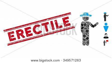 Mosaic Talking Gentleman Pictogram And Red Erectile Stamp Between Double Parallel Lines. Flat Vector