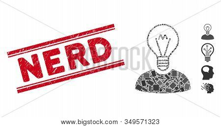 Mosaic Bulb Inventor Icon And Red Nerd Watermark Between Double Parallel Lines. Flat Vector Bulb Inv