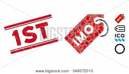 Mosaic Imo Tag Pictogram And Red 1st Stamp Between Double Parallel Lines. Flat Vector Imo Tag Mosaic
