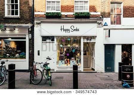 London, Uk - May 15, 2019: Happy Socks Fashion Storefront In Neal Street In Seven Dials, Covent Gard