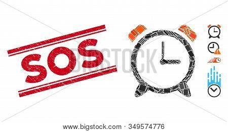 Mosaic Alarm Clock Pictogram And Red Sos Stamp Between Double Parallel Lines. Flat Vector Alarm Cloc