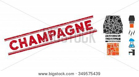 Mosaic Gas Burner Nozzle Pictogram And Red Champagne Seal Between Double Parallel Lines. Flat Vector