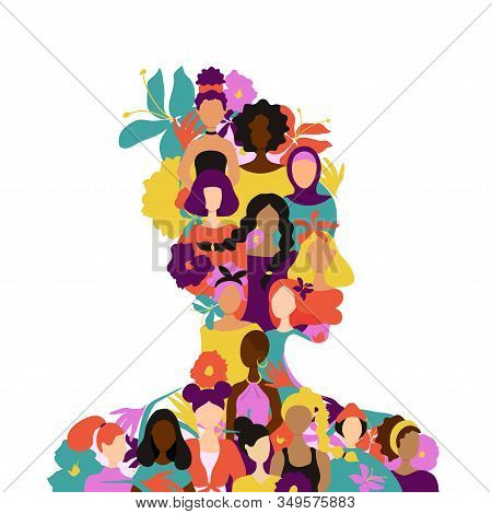 African Woman Silhouette Womens Figures Of Various Nationalities And Tropical Flowers.flat Trendy St