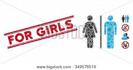 Mosaic Wc Persons Pictogram And Red For Girls Rubber Print Between Double Parallel Lines. Flat Vecto