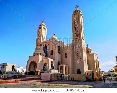 Egypt, Sharm El Sheikh - January 18, 2020: Main Entrance To The El Sama Eyeen Coptic Church In Sharm