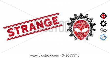 Mosaic Alien Technology Pictogram And Red Strange Seal Stamp Between Double Parallel Lines. Flat Vec