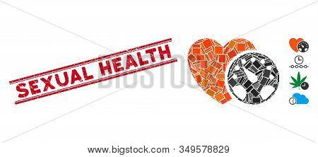 Mosaic Blood Pressure Meter Pictogram And Red Sexual Health Seal Stamp Between Double Parallel Lines