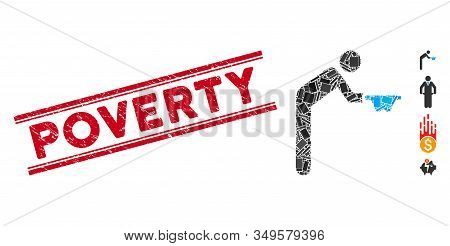 Mosaic Beggar Pictogram And Red Poverty Seal Stamp Between Double Parallel Lines. Flat Vector Beggar