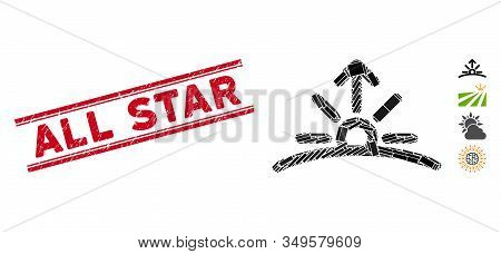 Mosaic Sunrise Icon And Red All Star Stamp Between Double Parallel Lines. Flat Vector Sunrise Mosaic