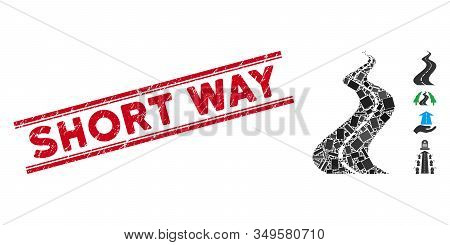 Mosaic Far Way Road Icon And Red Short Way Seal Between Double Parallel Lines. Flat Vector Far Way R
