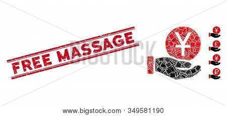 Mosaic Yuan Coin Payment Icon And Red Free Massage Seal Stamp Between Double Parallel Lines. Flat Ve