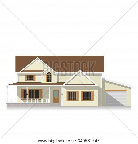 Classical Suburban American House.family Home.townhouse Building Apartment.home Facade With Garage.f