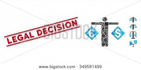 Mosaic Currency Trader Pictogram And Red Legal Decision Rubber Print Between Double Parallel Lines.