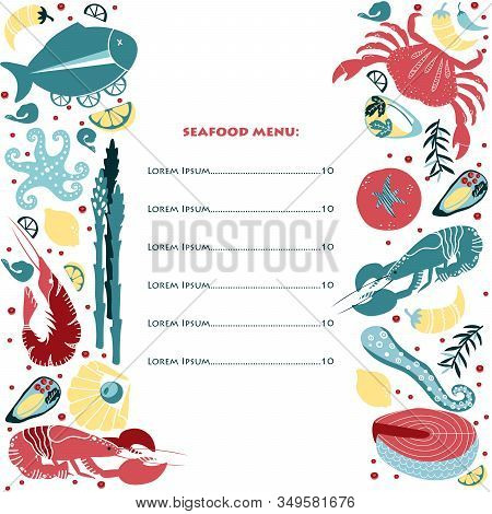 Set Of Colorful Hand Drawn Seafood Menu Elements: Crawfish, Lobster, Crab, Shrimps, Lemon, Octopus,