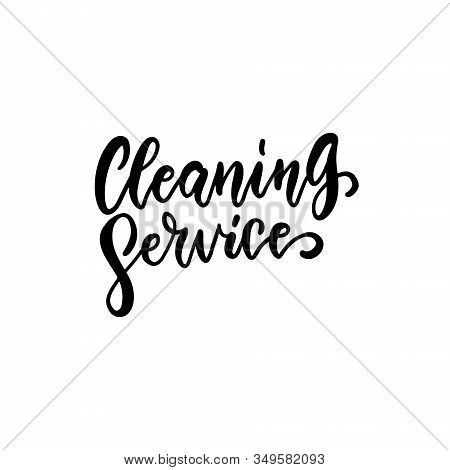 Cleaning Service - Lettering Logo On White Background. Hand Sketched Cleaning Service Lettering Typo