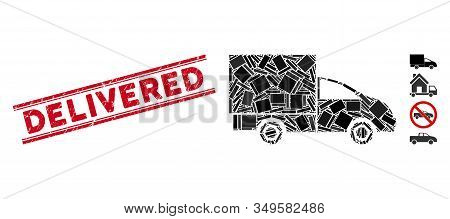 Mosaic Lorry Pictogram And Red Delivered Stamp Between Double Parallel Lines. Flat Vector Lorry Mosa