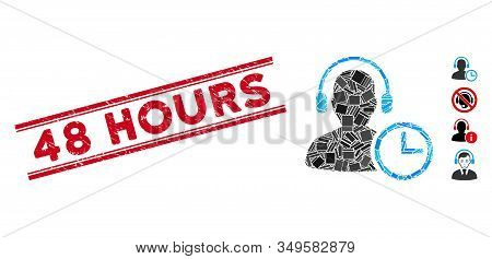Mosaic Operator Time Pictogram And Red 48 Hours Seal Stamp Between Double Parallel Lines. Flat Vecto
