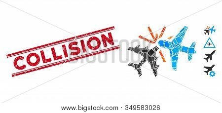 Mosaic Airplane Collision Icon And Red Collision Seal Stamp Between Double Parallel Lines. Flat Vect