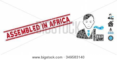 Mosaic Capitalist Oligarch Pictogram And Red Assembled In Africa Seal Stamp Between Double Parallel