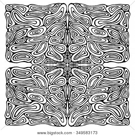 Intricate Psychedelic Circles Ornament Coloring Page. Black And White Bizarre Abstract Shamanic Back