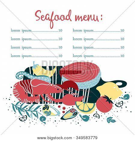 Set Of Colorful Hand Drawn Seafood Elements: Crawfish, Lobster,  Shrimps, Lemon, Octopus, Shells, Oy