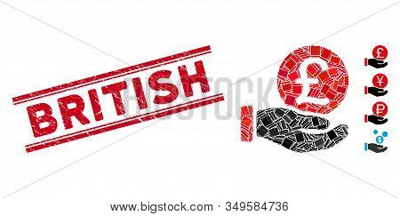 Mosaic British Pound Coin Payment Pictogram And Red British Seal Stamp Between Double Parallel Lines