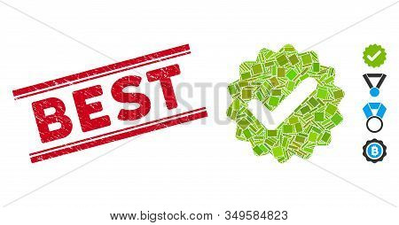 Mosaic Best Medallion Pictogram And Red Best Rubber Print Between Double Parallel Lines. Flat Vector