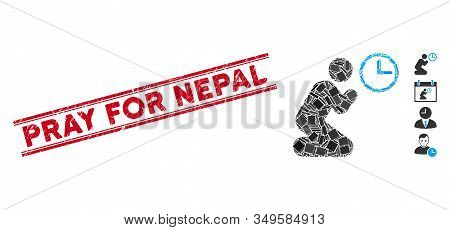Mosaic Pray Time Icon And Red Pray For Nepal Seal Stamp Between Double Parallel Lines. Flat Vector P