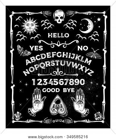 Ouija Board With The Skull. Occultism Set. Vector Illustration.