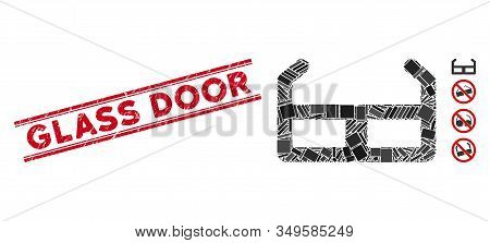 Mosaic Spectacles Icon And Red Glass Door Seal Stamp Between Double Parallel Lines. Flat Vector Spec