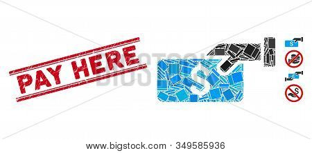 Mosaic Pay Pictogram And Red Pay Here Rubber Print Between Double Parallel Lines. Flat Vector Pay Mo