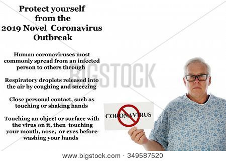 2019 Novel Coronavirus. 2019-nCoV. Wuhan, China 2019 Novel Coronavirus. A hospital patient holds a sign and is scared of contracting the CORONAVIRUS. World Wide Epidemic. World Wide Outbreak.