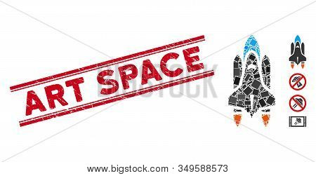 Mosaic Space Shuttle Icon And Red Art Space Stamp Between Double Parallel Lines. Flat Vector Space S