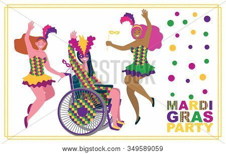 Two Girls In Masquerade Suits Jump With Masks In Their Hands And Feathers On Their Heads, One Girl I