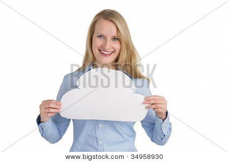Female Holding A Cloud