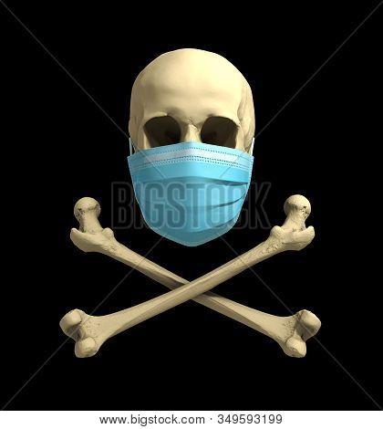 Skull In Medical Mask And Bones. Concept Of Deadly Coronavirus Epidemic. 3d Illustration.