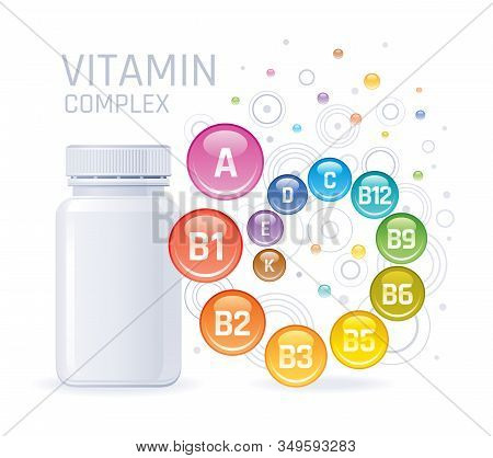 Multi Vitamin Complex Supplement. 3d Mockup With Empty Bottle Vitamins A, B1, B2, B3, B5, B6, B9, B1