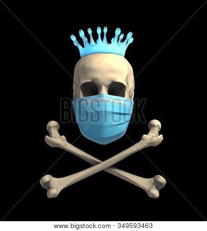Skull In Medical Mask And Bones With Coronavirus Crown. 3d Illustration.